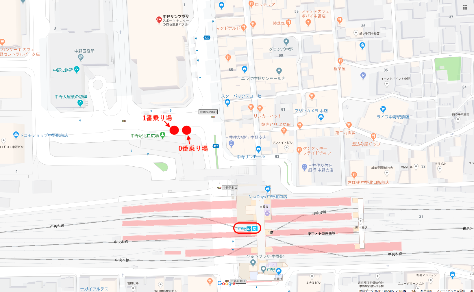 中野駅バス停Map